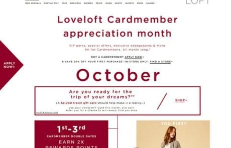 Loveloft cardmember appreciation month