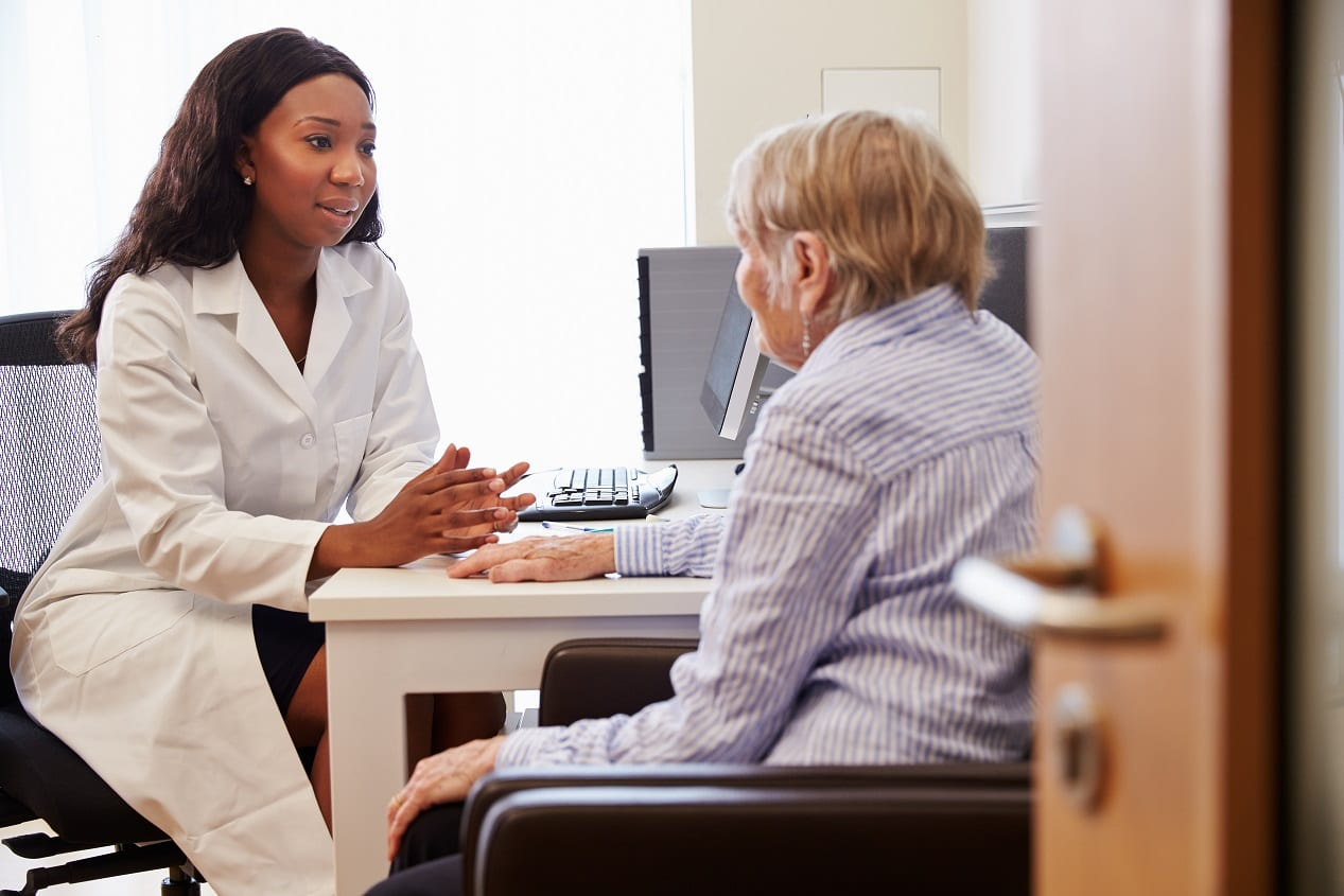 Senior patient having consultation with doctor in, office
