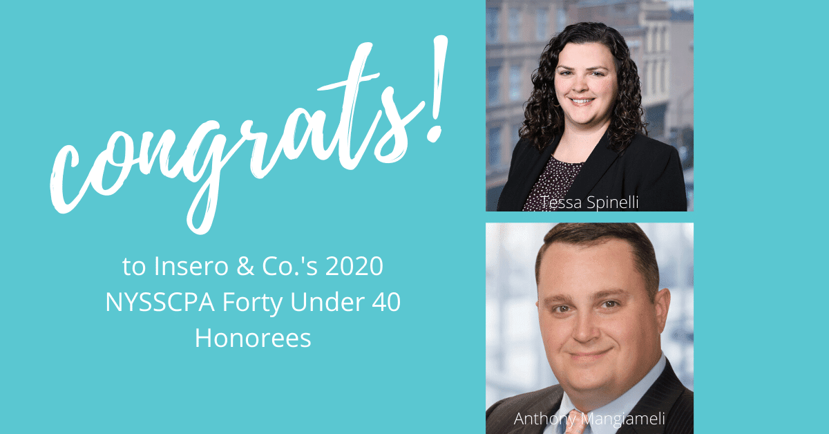 Tessa Spinelli and Anthony Mangiameli named 2020 NYSSCPA Forty under 40