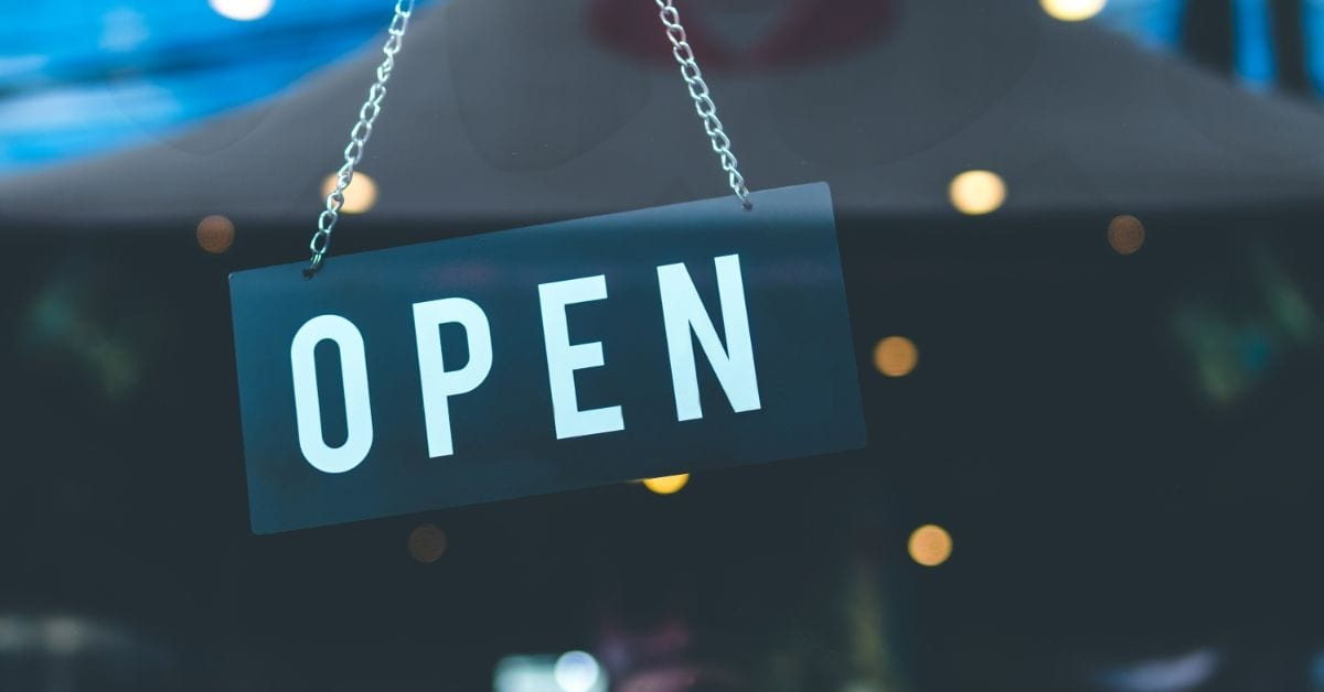 reopening of businesses open sign for business