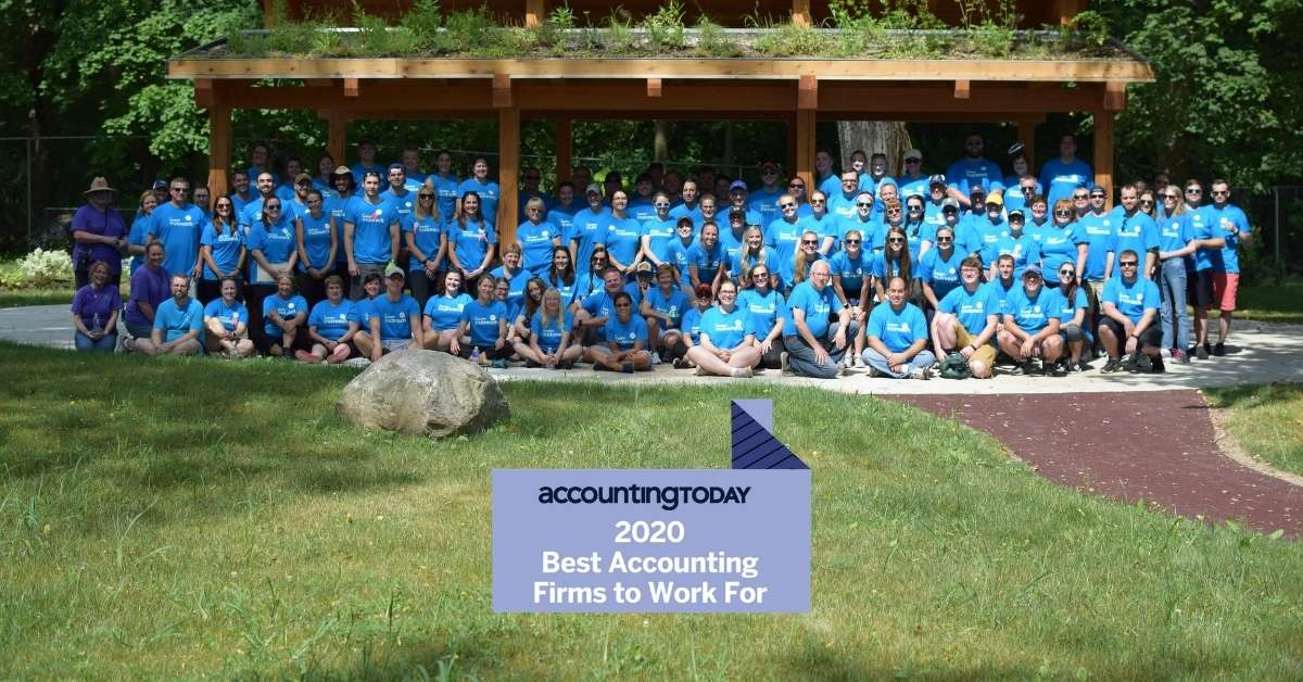 2020 Best Accounting Firms Logo over team photo of Insero's Volunteer Day