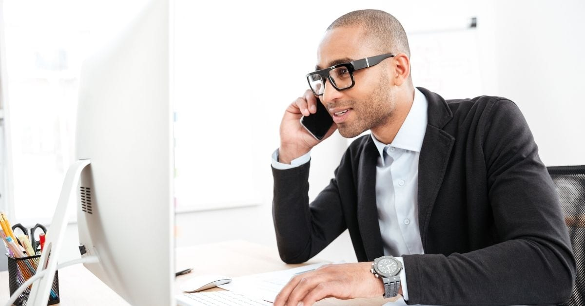Man talking on phone for more business